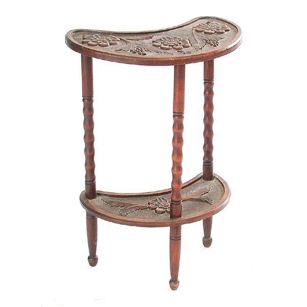 43: Carved Mahogany Demilune Table