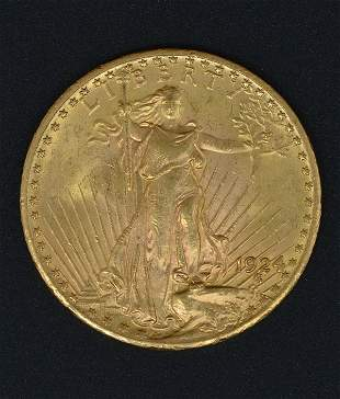 1924 $20 St Gaudens Double Eagle Gold Coin.