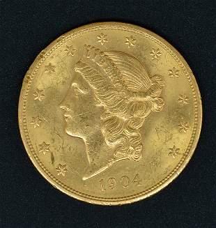 1904 $20 Liberty Head Double Eagle Gold Coin.