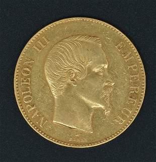 France Napoleon III Gold 100 Francs 1858A