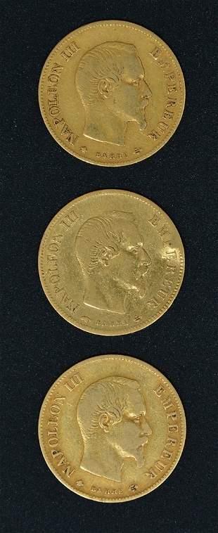 3 Gold Coins, 10 Francs, France, 1856, 1858 & 1860