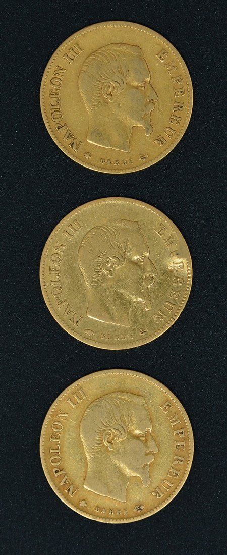 3 Gold Coins, 10 Francs, France, 1856, 1858 & 1860