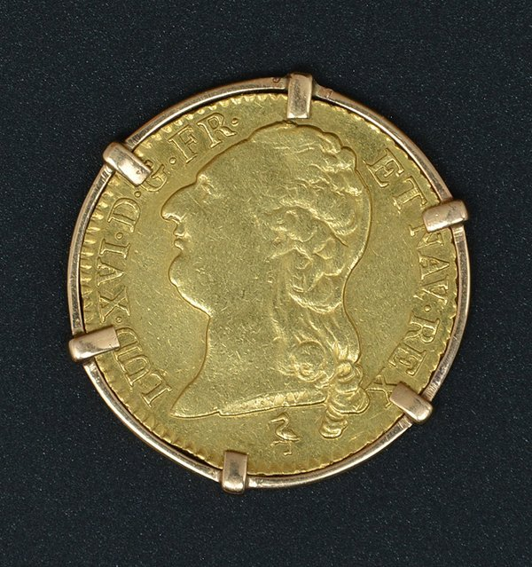 France, Louis D'Or, 1786 Gold Coin In Bezel