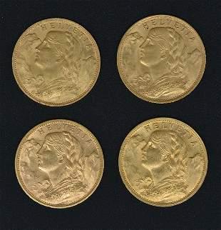 (4) Gold Helvetia Swiss 20 Franc Coins