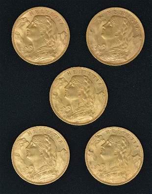 (5) Gold Helvetia Swiss 20 Franc Coins