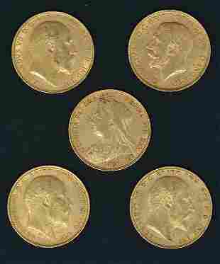 England. (1) Victoria & (4) George V Gold Sovereigns