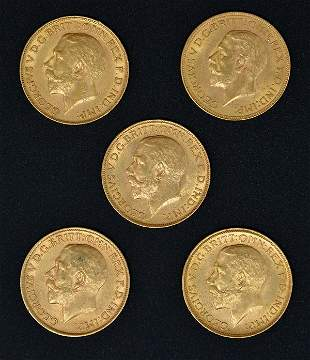 England. (5) George V Gold Sovereigns