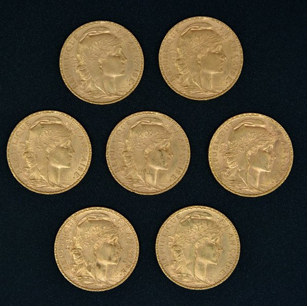(7) French 20 Franc Rooster Gold Coins