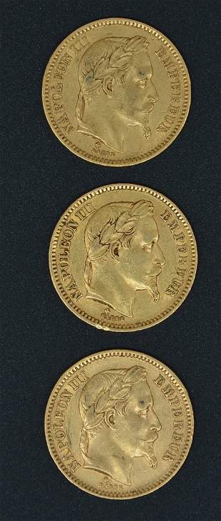 (3) French 20 Franc Napoleon III Gold Coins