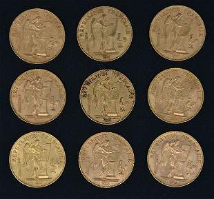 (9) Republique 20 Franc Angel French Gold Coins