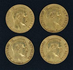 (4) 20 Franc Napoleon III Gold Coins