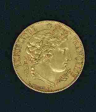 Republic 20 Franc Gold Coin 1850