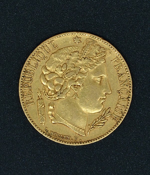 Republic 20 Franc Gold Coin 1850