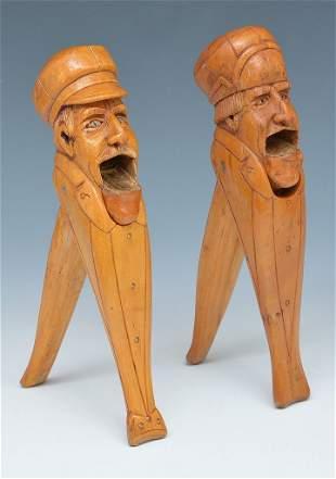 2 German Black Forest Carved Wood Nut Crackers