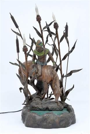 Indian On Horseback Lamp
