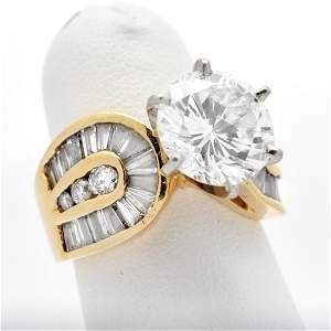 Platinum & Gold 4.04 Carat Diamond Ring