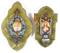 2 Holy Water Fonts w/ Painted Portrait Miniatures