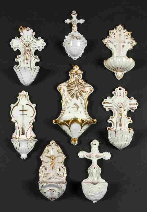 8 Gilt White Porcelain Holy Water Fonts