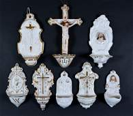 8 Gilt And White Porcelain Holy Water Fonts