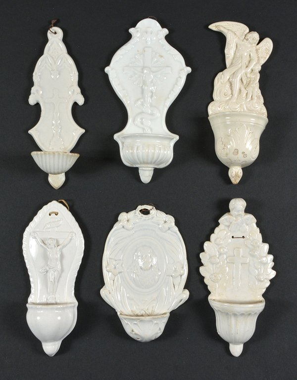 6 White Porcelain Holy Water Fonts