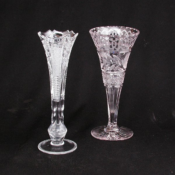 8: Two Glass Flare Neck Vases
