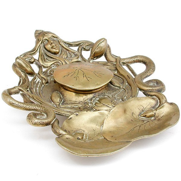 17: Art Nouveau Bronze Inkwell, Signed
