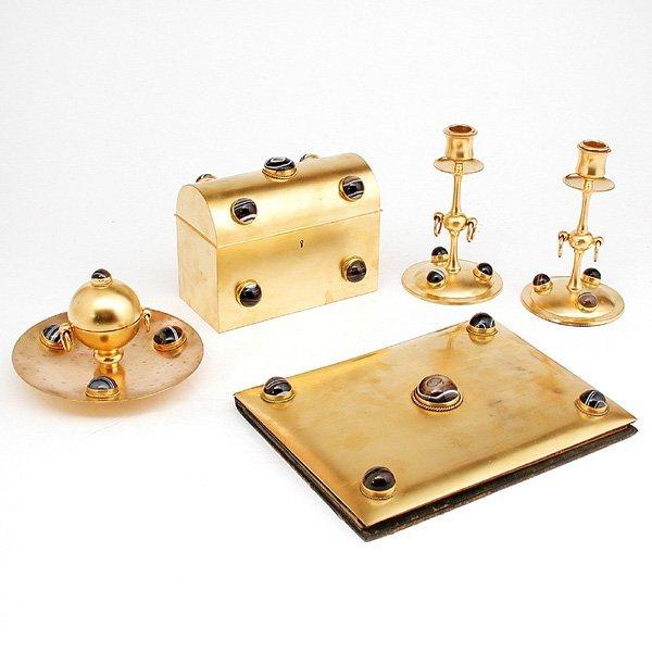 18: 5pcs Gold-gilt Desk Set