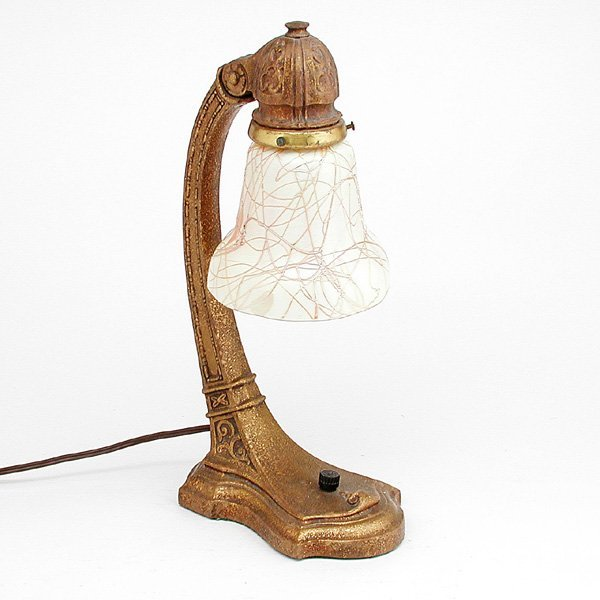 19: Steuben Gold Dore Bronze Lamp