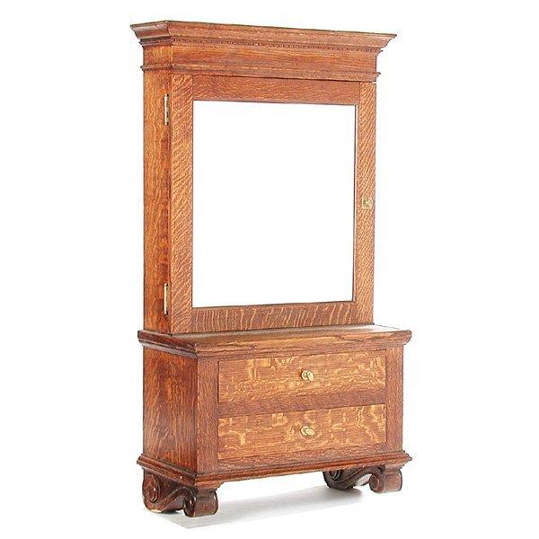 21: 19th C. American Oak Wall Cabinet