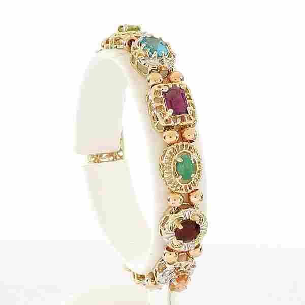 259: Multi Stone Gold Slider Bracelet