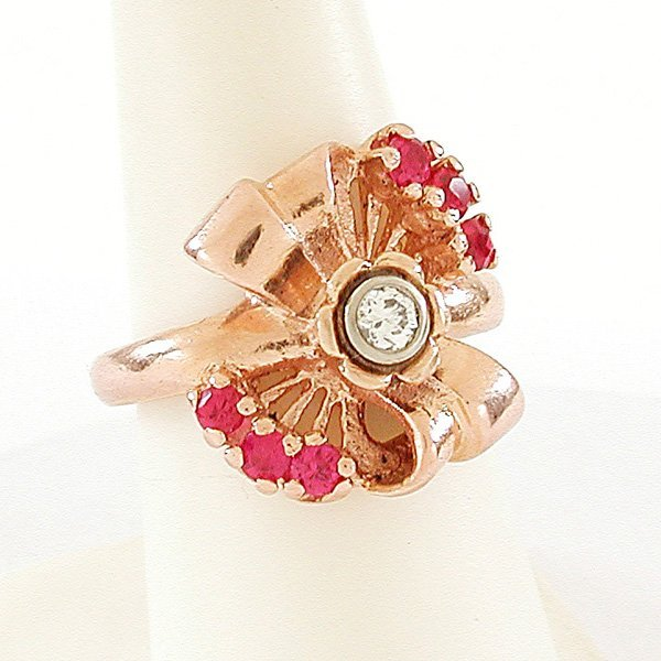 267: Art Deco Diamond Ruby Rose Gold Ring