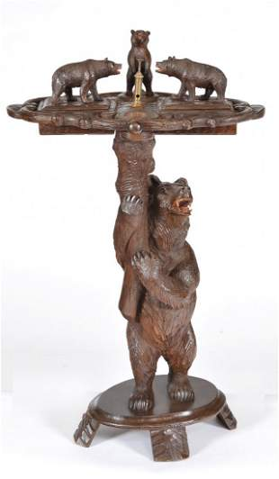 """Swiss bear smoking stand in carved wood, 34 3/4"""" tall"""