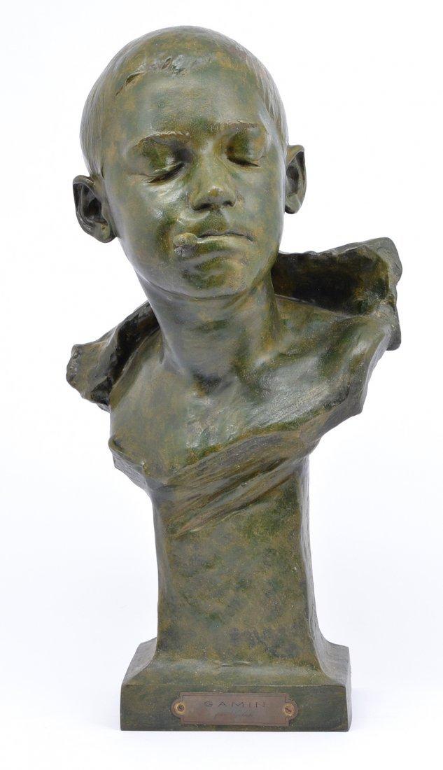 "Telsch Ede bronze ""Gamin"", boy with cigarette, 21 1/2"""