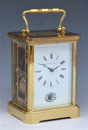 Tiffany brass carriage clock, award to Brett Hull, NHL