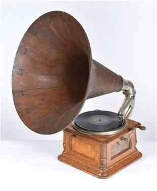 """Columbia phonograph with 21"""" diameter oak horn"""