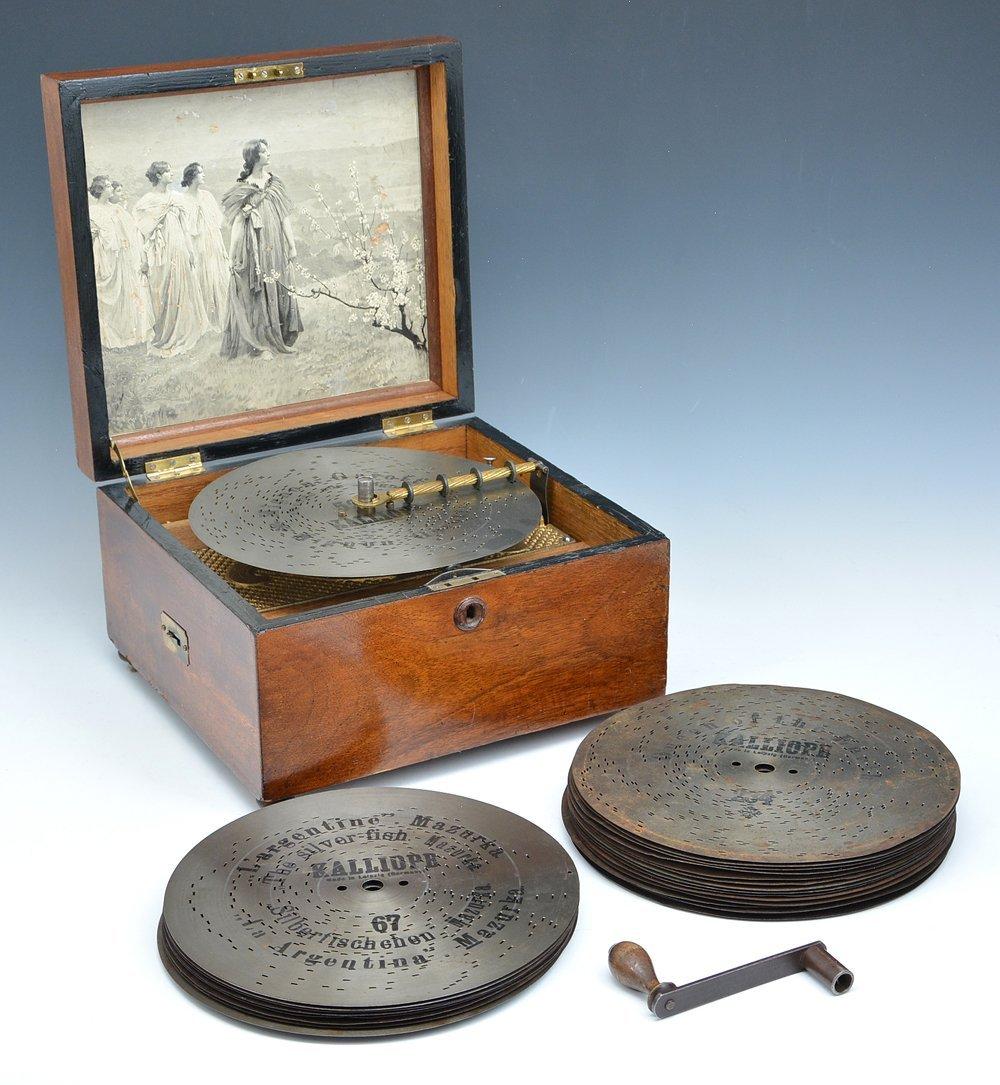 Kalliope disc music box, c 1880, with 25 discs
