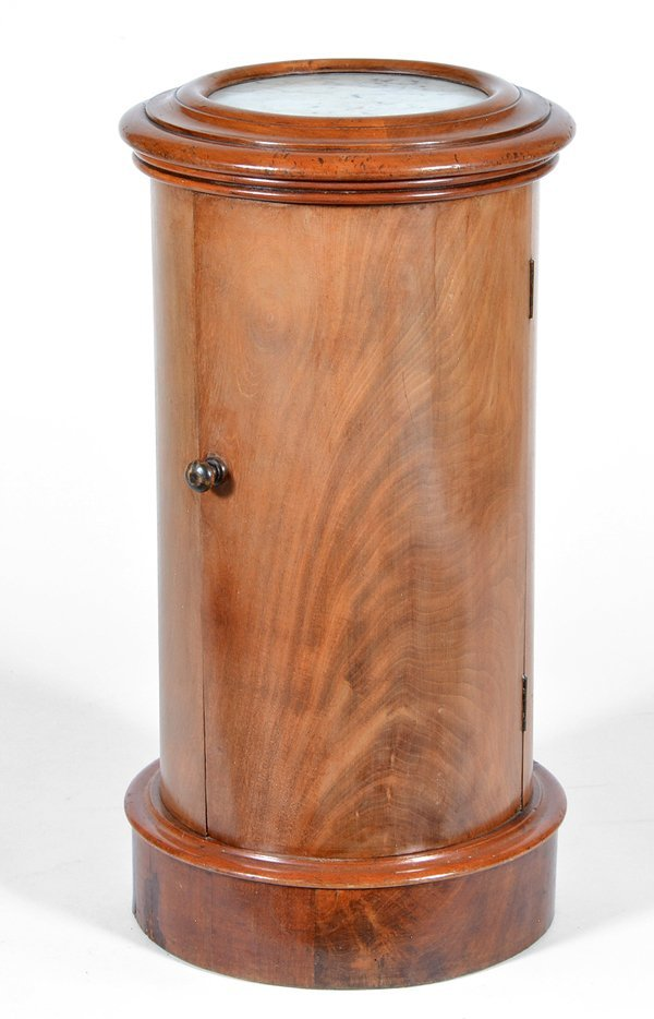 Victorian mahogany round commode with marble top, 19th