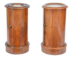2 Victorian mahogany round commodes