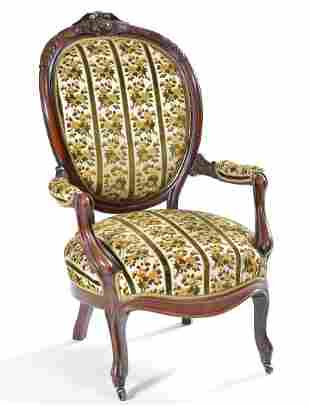 Fancy Victorian walnut armchair, 19th c