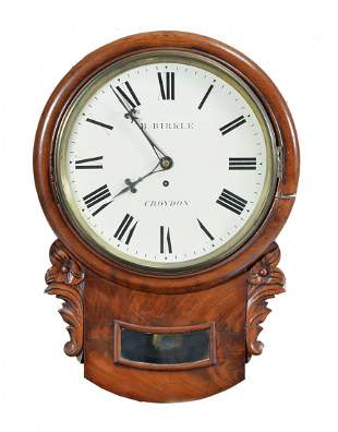 English wall clock by B. Birkle, Croydon, Fusee, 19th c