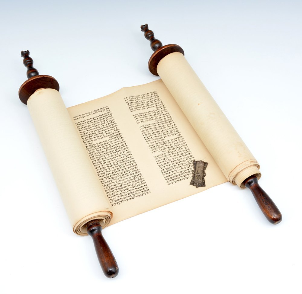 Torah scroll with silk mantle & silver Torah buckle