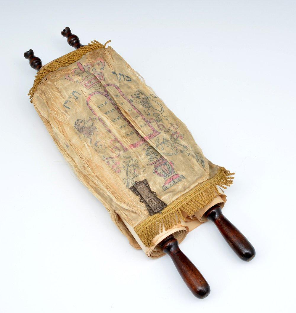 Torah scroll with silk mantle & silver Torah buckle - 2