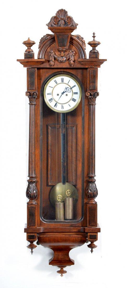 Vienna regulator wall clock, walnut case 19th c