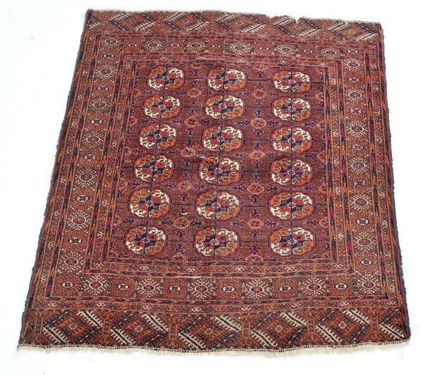 """Tekke Turkoman scatter rug, 4' 7"""" x 4'"""