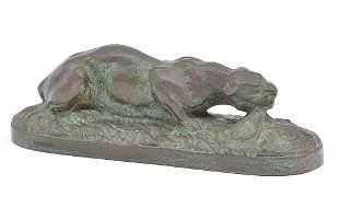 "Carvin bronze crouching cat, 7"" long"