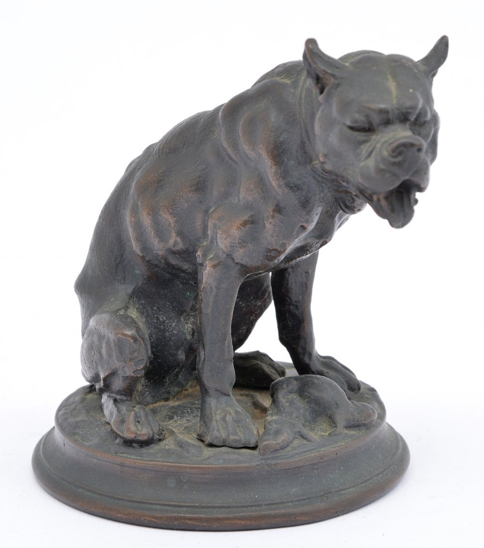 "Barye Fils bronze mastiff, 4 1/4"" tall"
