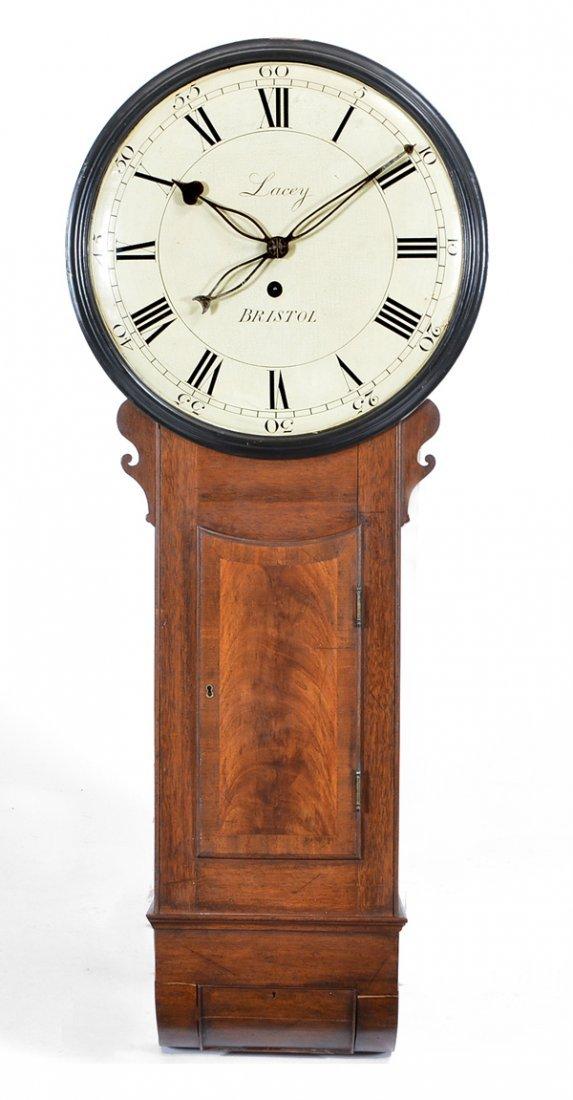 Lacey, Bristol mahogany wall clock, 19th c