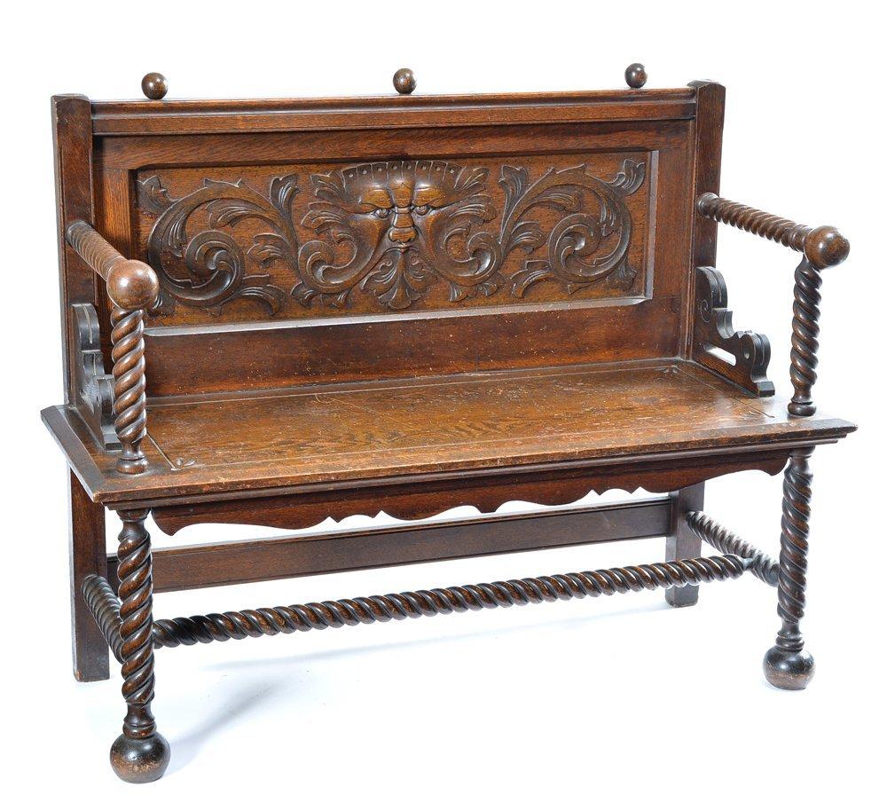 Victorian American oak hall seat, 19th