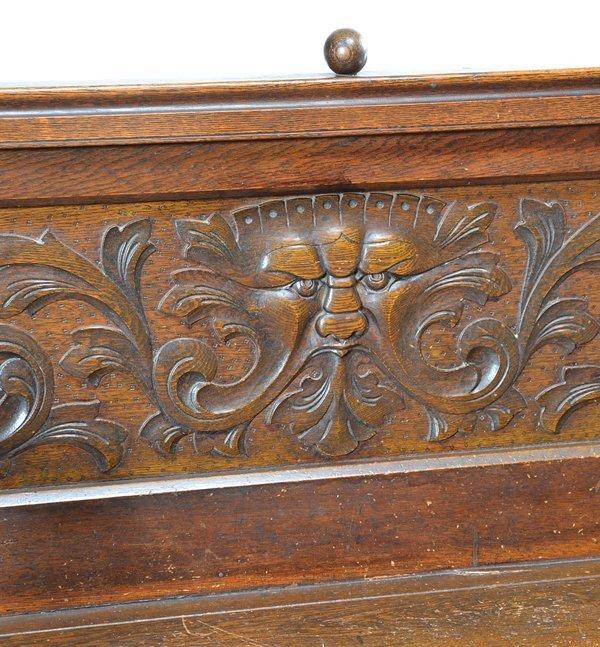 Victorian American oak hall seat, 19th - 2