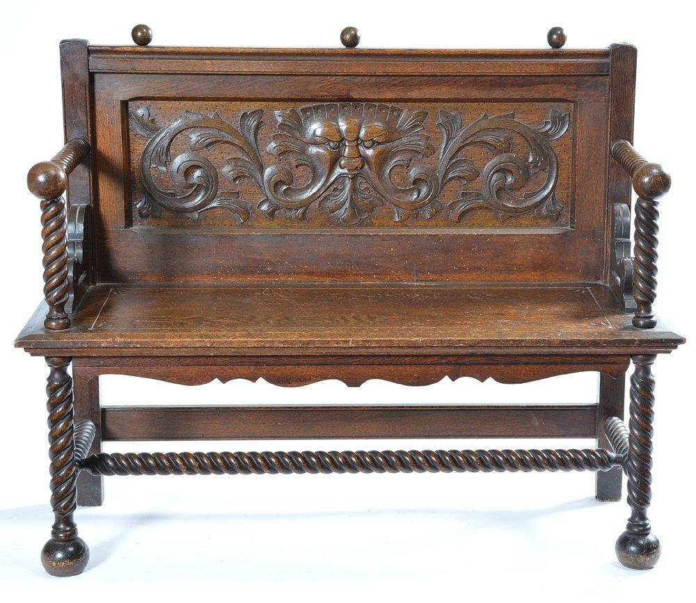 Victorian American oak hall seat, 19th - 3